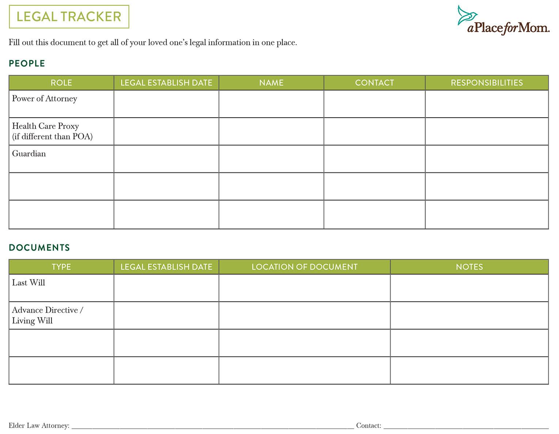 Legal Tracker Checklist